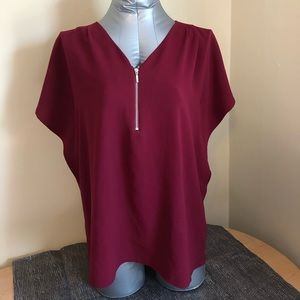 The Limited Flutter Sleeve Red Blouse